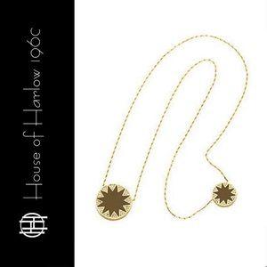 House of Harlow Double Sunburst Necklace - Tan